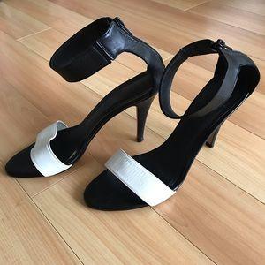 OFFICE London Black &White High Heel Sandal Sz 41